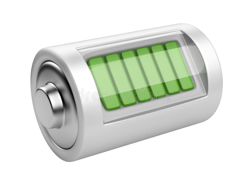 Full battery with charge level. 3d illustration isolated on a white background stock illustration