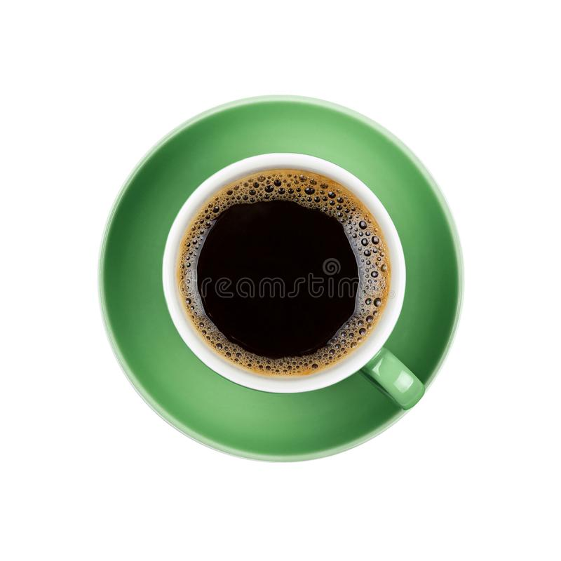 Full black coffee in green cup close up isolated stock image