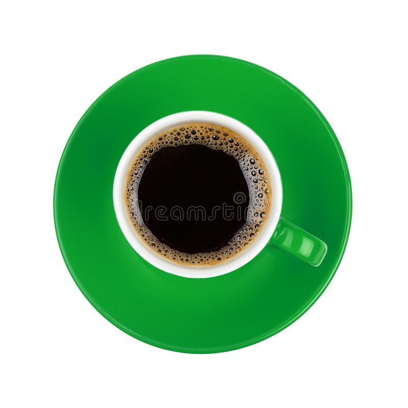 Full black coffee in green cup close up isolated royalty free stock image
