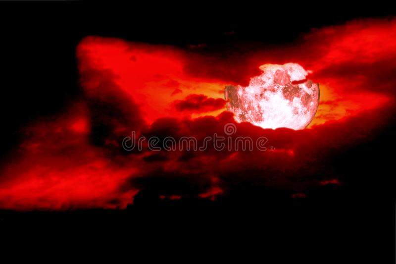 full blood moon back space silhouette dark red sky, concept eye stock images