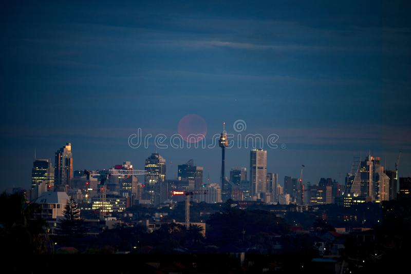 Blood moon over Sydney city view, Australia. A full blood moon floats behind the city of Sydney, Australia at twilight royalty free stock photos