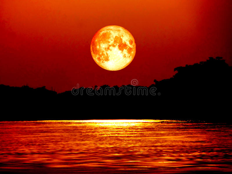 Full blood moon and moonlight on river, Elements of this image f. Full blood moon and moonlight on water surface in river, Elements of this image furnished by royalty free stock photo