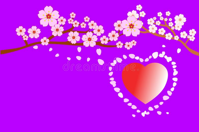 Full bloom cherry blossoms and petals blowing/flying around red heart shape, on purple background. Vector illustration. royalty free illustration
