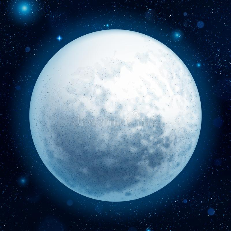 Full blue moon with stars at dark sky background. EPS 10 stock illustration