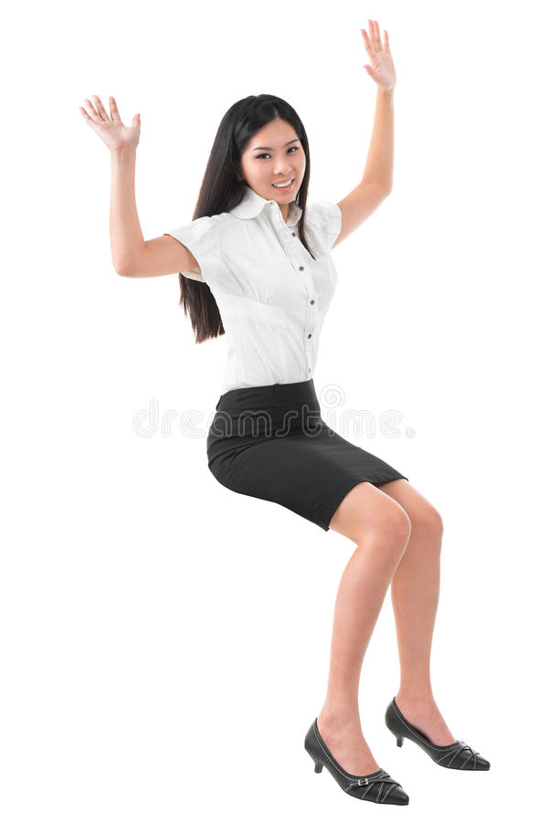 Full Body Arms Raised Young Asian Woman Stock Photo