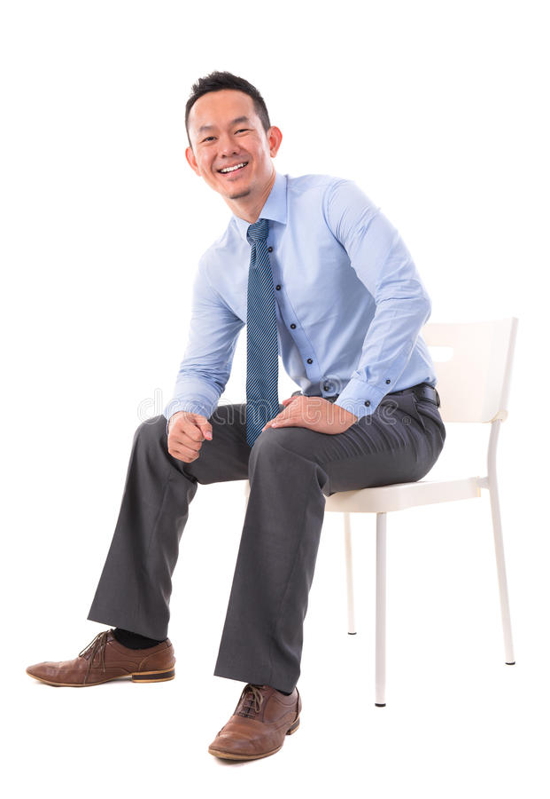 Full body Asian business man sitting stock photography