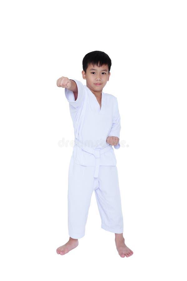 Full body of asian child athletes martial art taekwondo training stock photos
