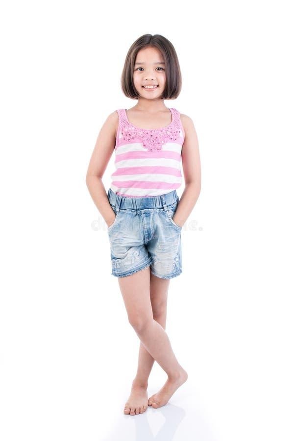 Full body Asian girl standing. On white background stock photos