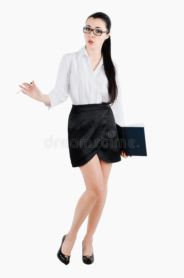 Full body business woman holding a pen and diary. Isolated on white royalty free stock image