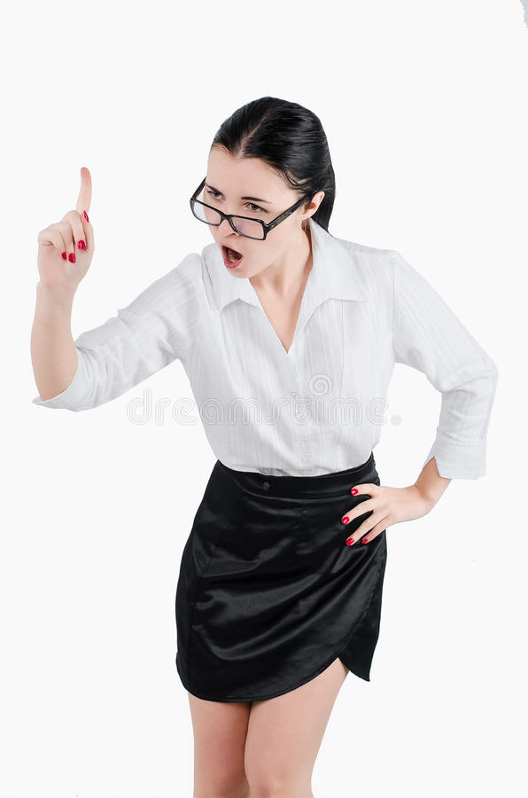 Full body business woman yelling at someone. Isolated white back stock photography
