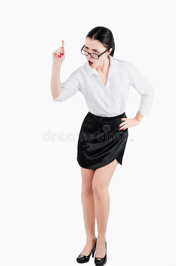 Full body business woman yelling at someone. Isolated white back stock photos