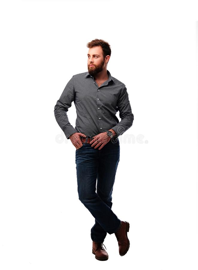 The full body image of bearded urban male. royalty free stock photo