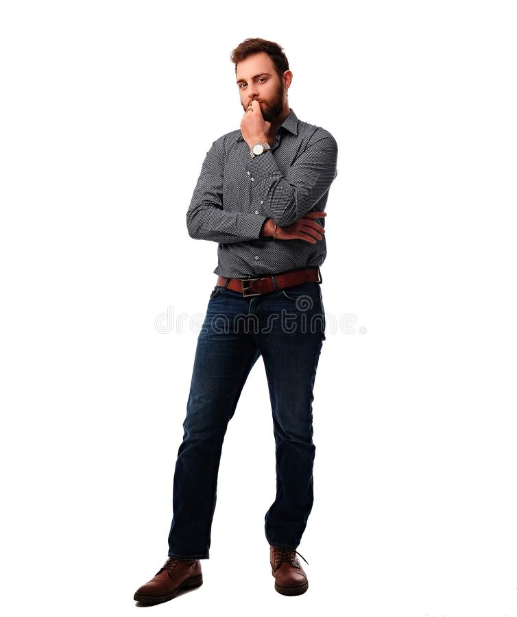 The full body image of bearded urban male. stock images