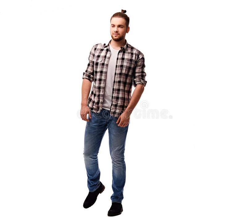 The full body image of bearded urban male. stock photo