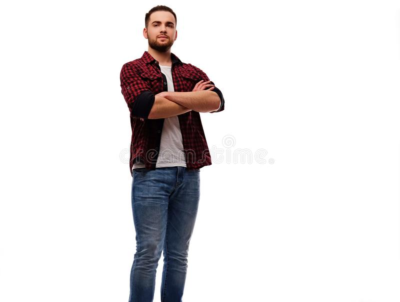 The full body image of bearded urban male. royalty free stock photos