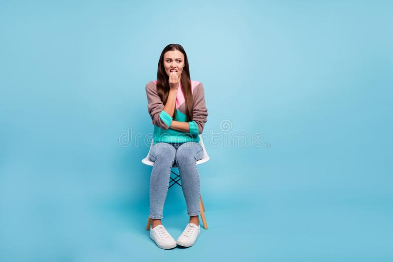 Full body length size photo of sad feeling shy awkward clumsy lady having bad anticipation. Full body length size photo of sad feeling, shy awkward clumsy lady stock images