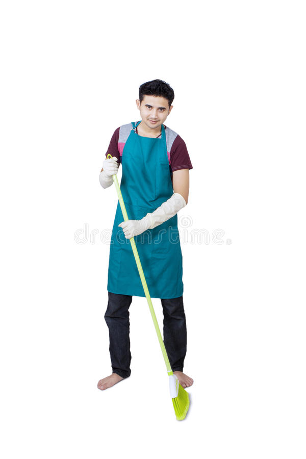 Download Full Body Of Man With Broom Stock Image - Image: 30585097