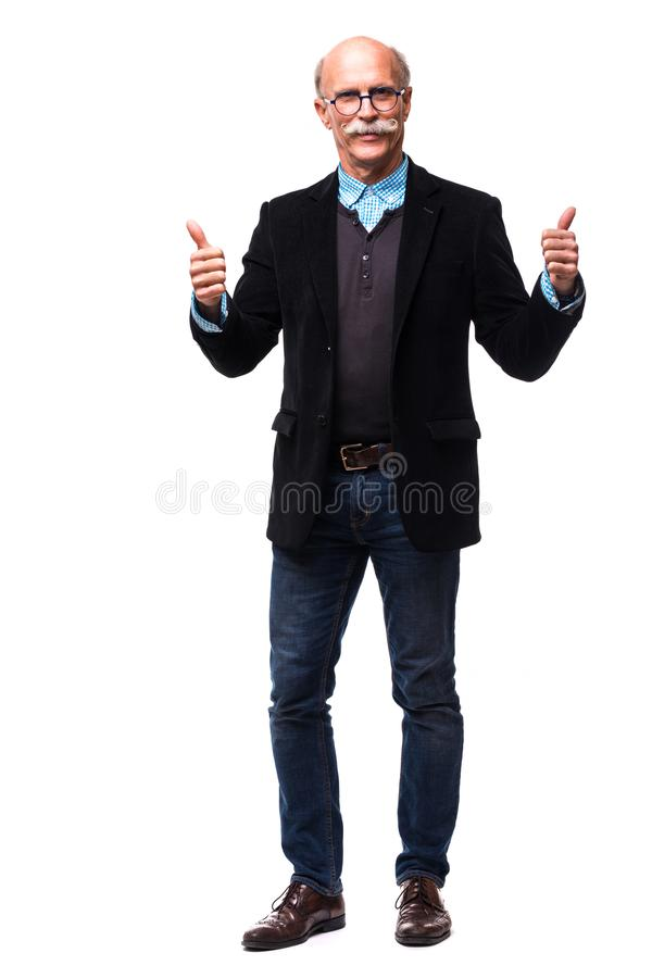 Full body mature man doing an okay gesture on white royalty free stock images