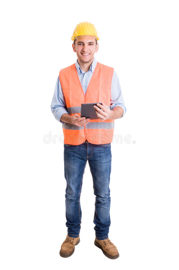 Full body of a modern engineer on white background royalty free stock photography