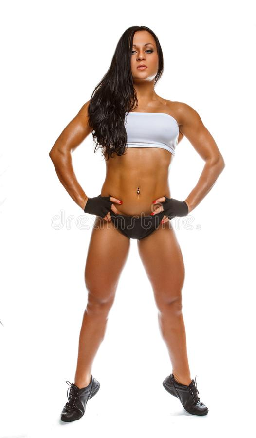 Full body portrait of athletic woman. stock photos