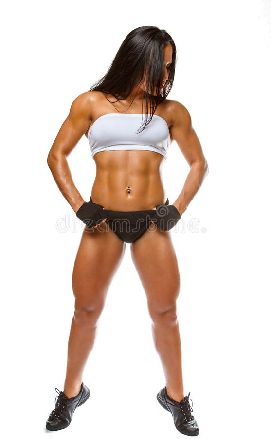 Full body portrait of athletic woman. stock photo