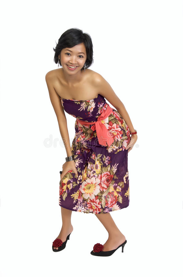 Full Body Portrait of Beautiful Asian Woman royalty free stock photography