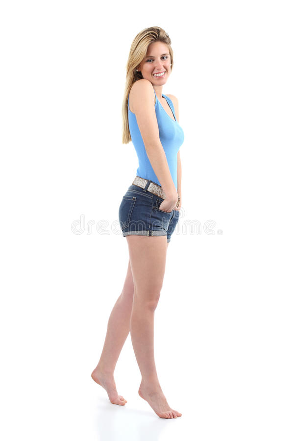 Full body portrait of a beautiful teenager girl royalty free stock photography
