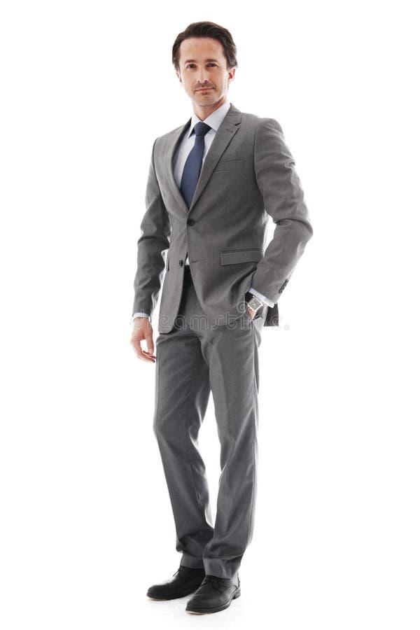 Full body portrait of business man. Full body portrait of young business man isolated on white stock photography