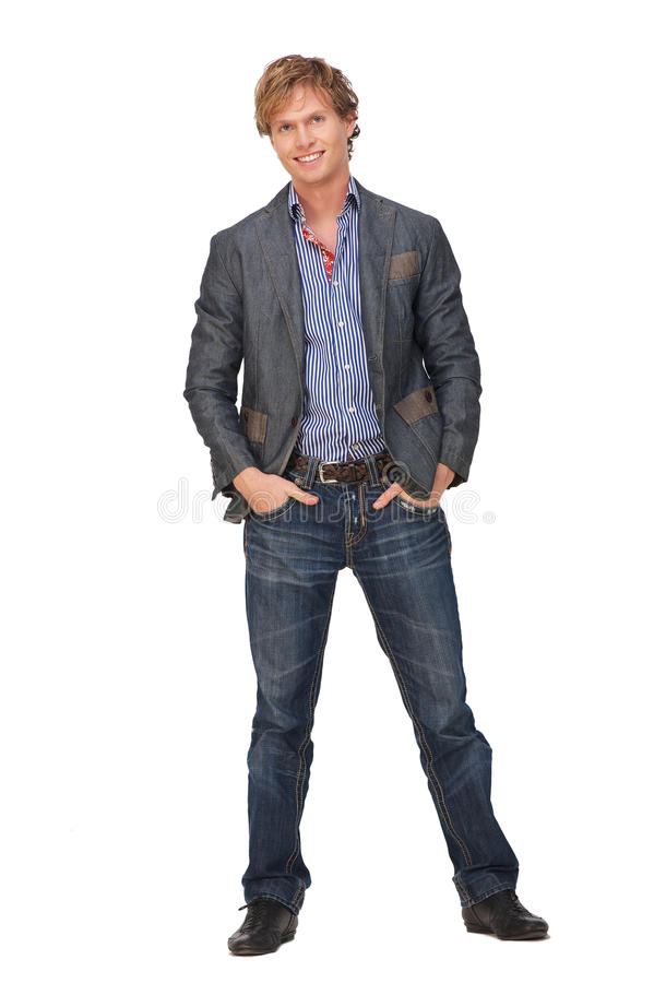 Full Body Portrait of Casual Man royalty free stock photography