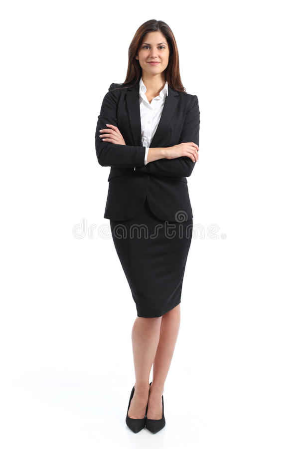 Full body portrait of a confident business woman. Isolated on a white background royalty free stock photography