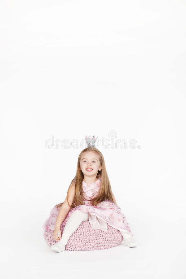 Full body portrait of girl child with blond hair royalty free stock photos
