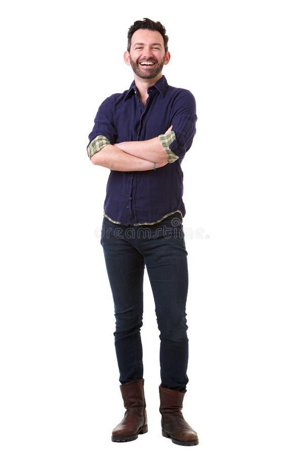 Full body handsome man with beard posing against isolated white background. Full body portrait of handsome man with beard posing against isolated white stock photos