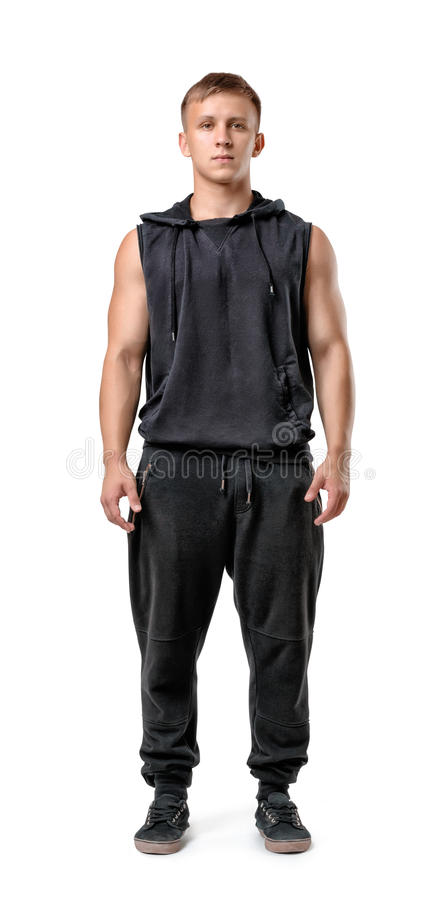 Full body portrait of handsome muscled young man, isolated on white background stock photos