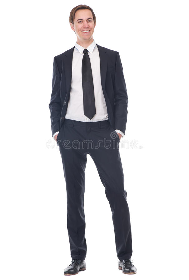 Full body portrait of a happy businessman. Standing on isolated white background stock image