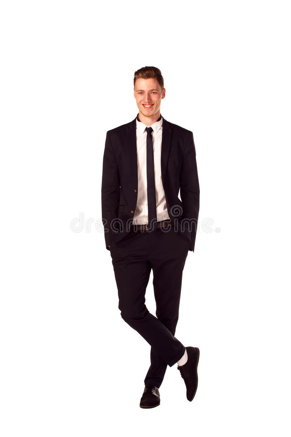 Full body portrait of happy smiling business man, isolated on white. Background royalty free stock photography
