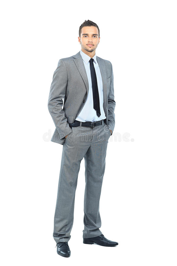 Download Full Body Portrait Of Happy Smiling Business Man, Isolated On White Background Stock Image - Image: 26302007