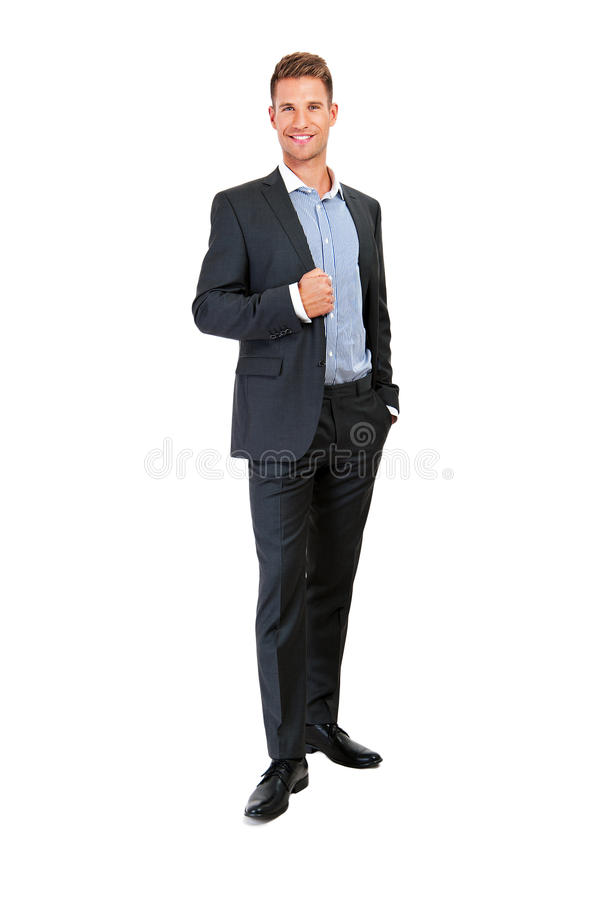 Full body portrait of happy smiling business man. Isolated on white background stock photo