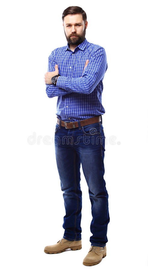 Full body portrait of happy smiling business man, isolated on white royalty free stock images