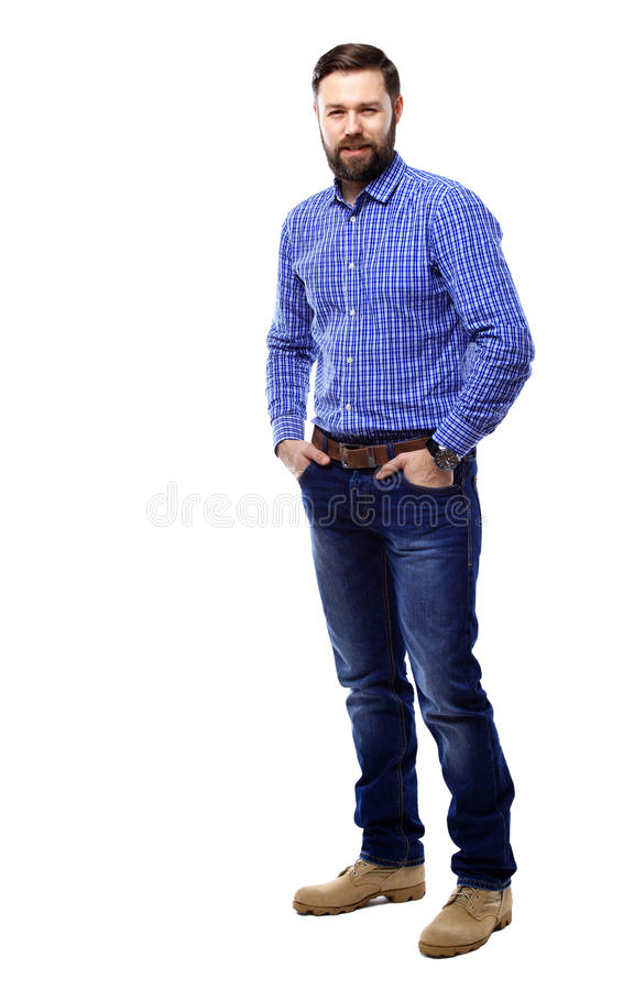 Full body portrait of happy smiling business man, isolated on white stock images