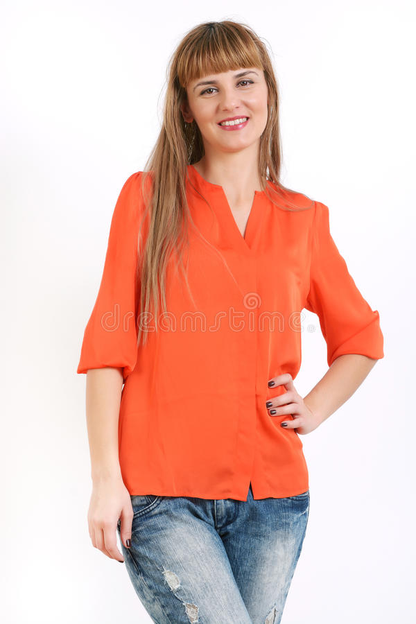 Full body portrait of happy smiling young business woman, isolated over white background. royalty free stock photos