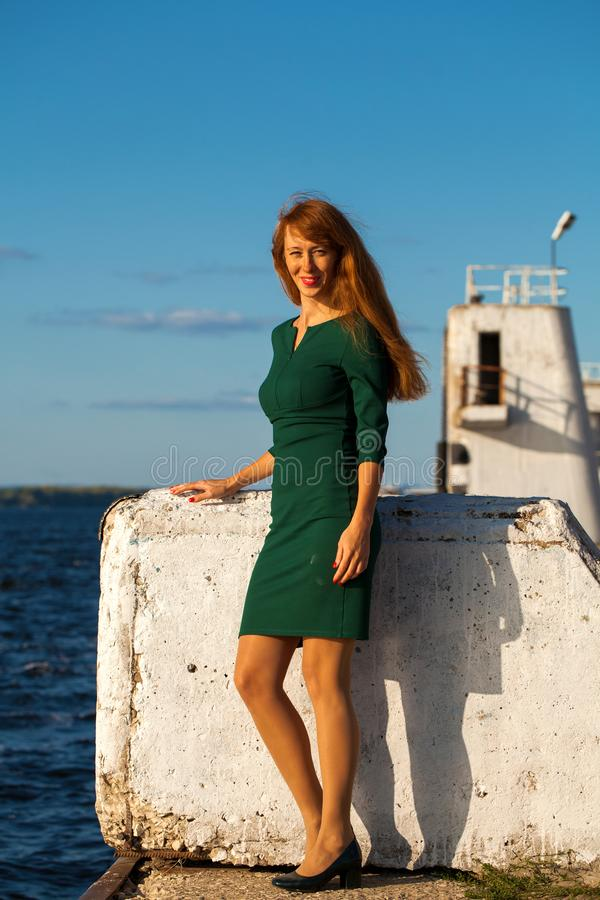 Full body portrait red-haired model. Full body portrait red-haired woman stock photos