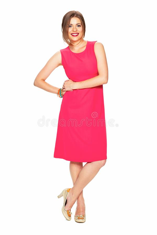 Full body portrait of smiling woman in red dress. Fashion portrait royalty free stock photo