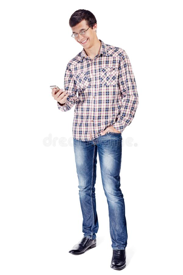 Man texting on phone full body stock images
