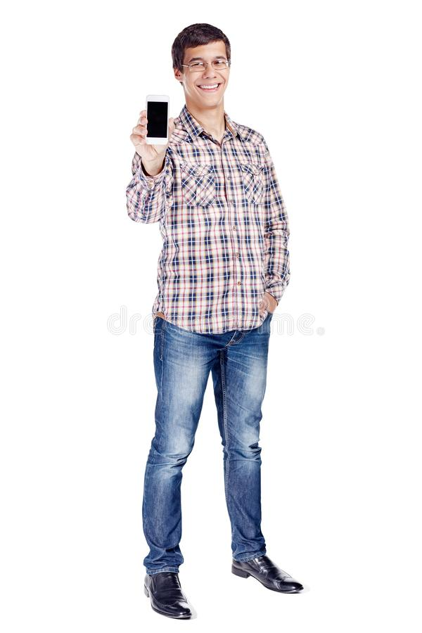 Man showing phone full body stock photos