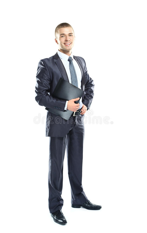 Full body portrait of a young business man with a black clipboard stock image