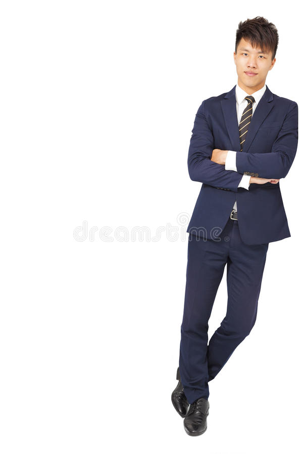 Full body portrait of young happy smiling business man stock photography