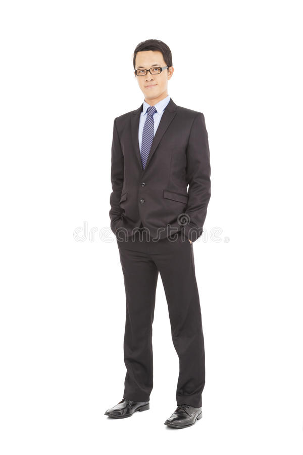 Full body portrait of young happy smiling cheerful businessman stock photo
