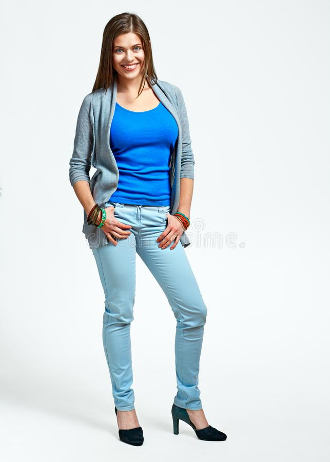 Full body portrait of young woman casual dressed. Model with long hair stock images