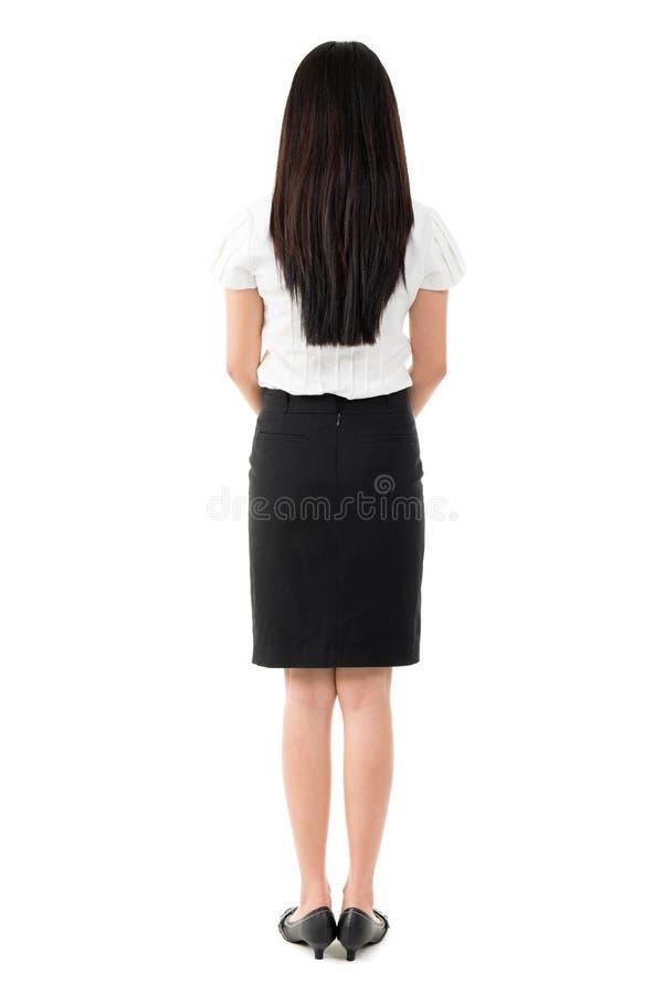 Full body rear view of beautiful Asian girl royalty free stock photos