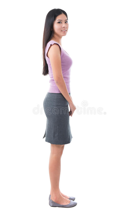 Full body side view Asian young woman royalty free stock images